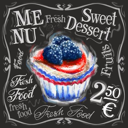 tart: sweet dessert on a black background. vector illustration