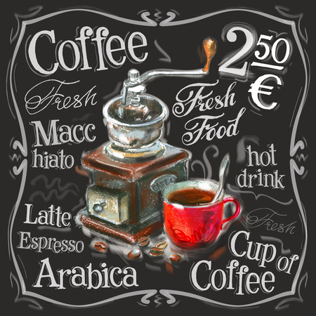 speisekarte: Skizze. Kaffee auf einem schwarzen Hintergrund. Vektor-Illustration Illustration