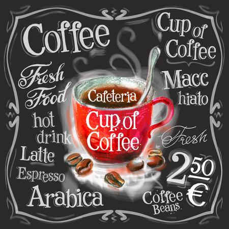 speisekarte: eine Tasse Kaffee auf einem schwarzen Hintergrund. Vektor-Illustration