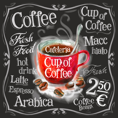 chicchi di caff�: Una tazza di caff� su sfondo nero. illustrazione vettoriale