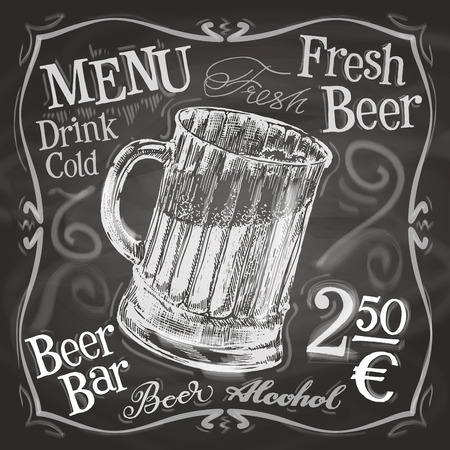 brasserie: mug of beer on a black background. vector illustration