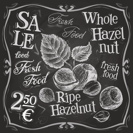 nuts: whole nuts on a black background. vector illustration