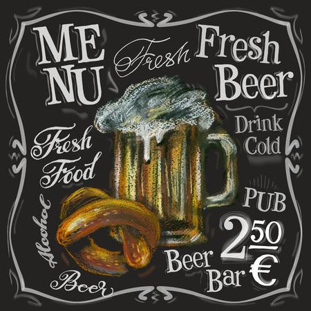 tablero: cerveza fresca en un fondo negro. ilustración vectorial