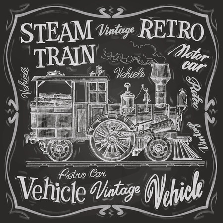 steam iron: retro train on a black background. vector illustration Illustration