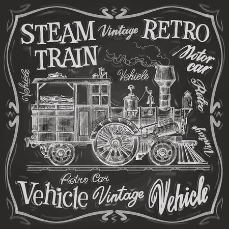 locomotora: Tren retro sobre un fondo negro. ilustración vectorial