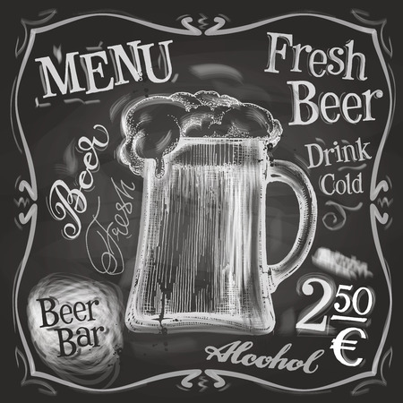 alcool: chope de bi�re sur un fond noir. illustration vectorielle