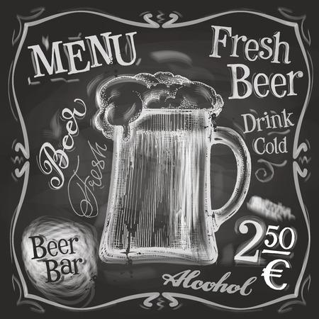 alcohol: mug of beer on a black background. vector illustration
