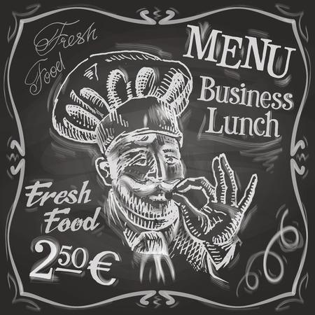almuerzo: boceto. cocinar sobre un fondo negro. ilustración vectorial
