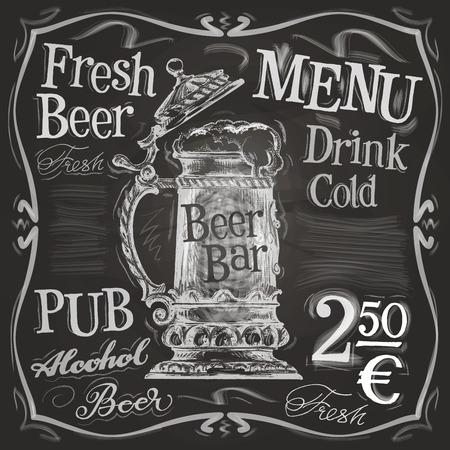 džbánek piva na černém pozadí. vektorové ilustrace