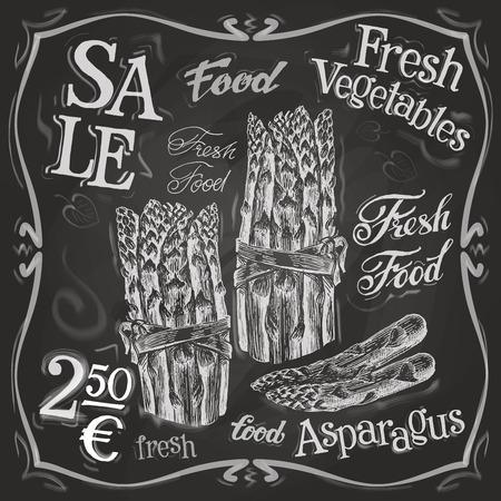white board: fresh asparagus on a black background. vector illustration