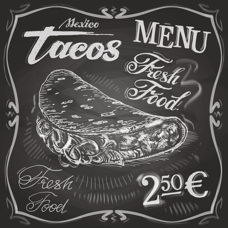 tacos: fast food on a black background. vector illustration Illustration