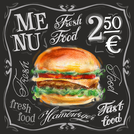 chalk board: fresh hamburger on a black background. vector illustration