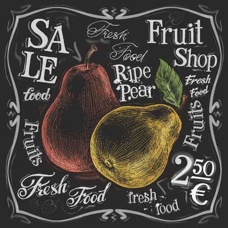 chalk outline: fresh pear on a black background. vector illustration Illustration