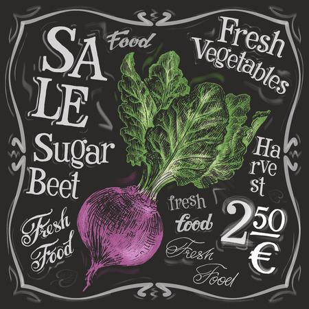 deli: sugar beets on a black background. vector illustration Illustration