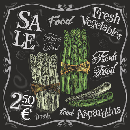 fresh asparagus on a black background. vector illustration