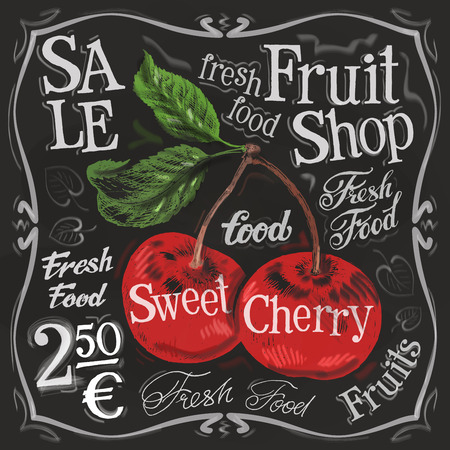 fruits background: ripe cherries on a black background. vector illustration