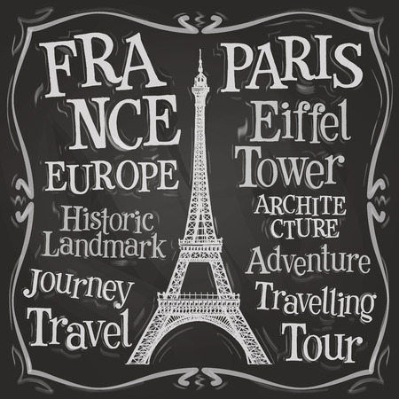 french culture: Eiffel tower on a black background. vector illustration
