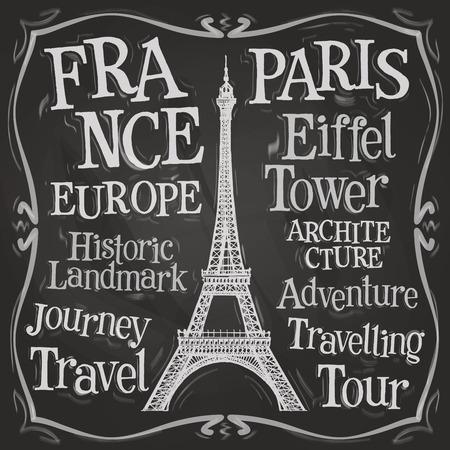 eifel: Eiffel tower on a black background. vector illustration