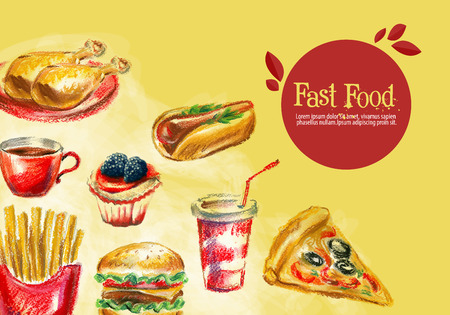 lunchroom: fast food on a yellow background. vector illustration Illustration