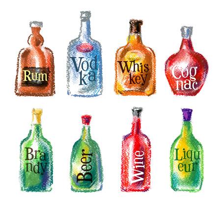 alcool: bouteilles d'alcool sur un fond blanc. illustration vectorielle Illustration
