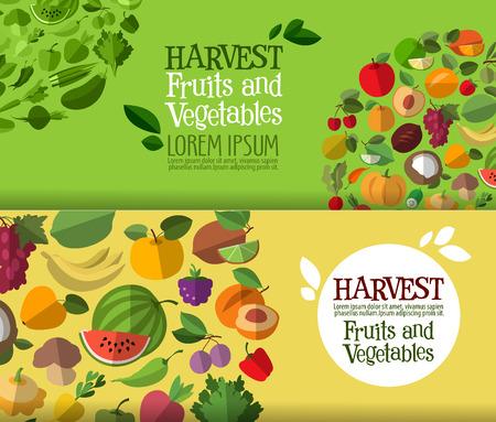 verduras: gran colección de iconos. frutas y vegetales. ilustración vectorial