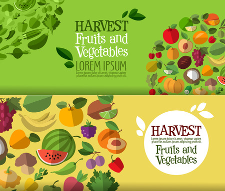 large collection of icons. fruits and vegetables. vector illustration