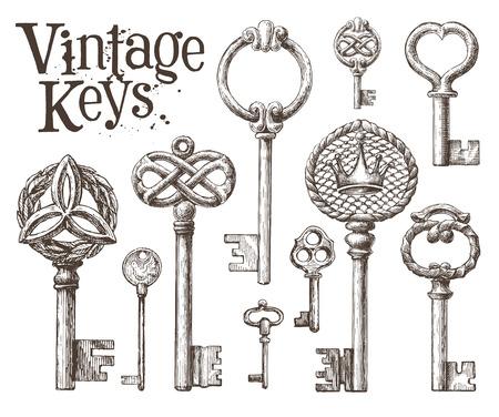 clues: vintage keys on a white background. vector illustration
