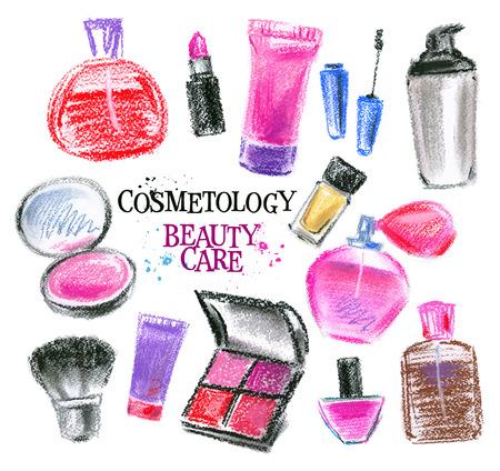 fragrance: schoonheid op een witte achtergrond. vector illustratie Stock Illustratie