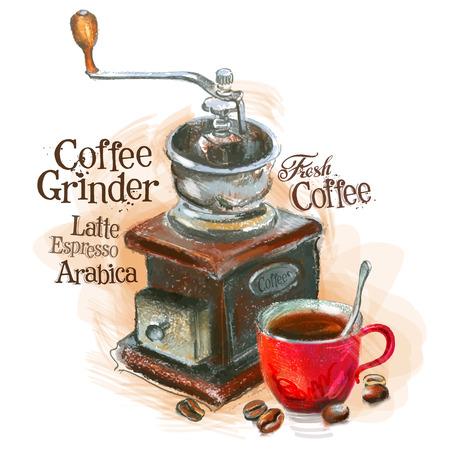 molinillo: café fresco en un fondo blanco. ilustración vectorial