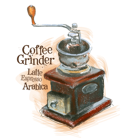 watercolor technique: coffee and coffee grinder on a white background. vector illustration