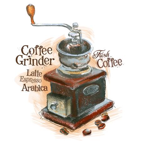 molinillo: molinillo de café y café sobre un fondo blanco. ilustración vectorial Vectores
