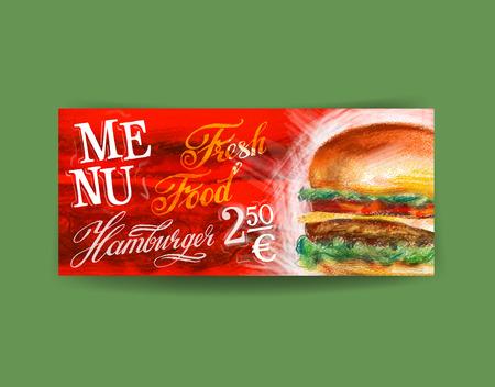 fresh hamburger on green background. vector illustration