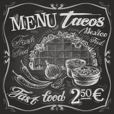 plato de comida: Comida mexicana en un fondo blanco. ilustraci�n vectorial