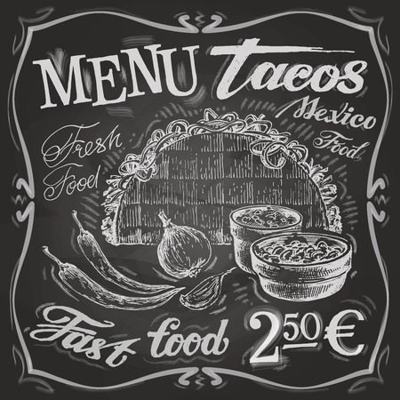 chalk drawing: Mexican food on a white background. vector illustration