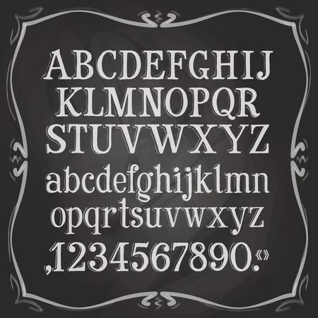 letras negras: las letras y números en un fondo negro. ilustración vectorial