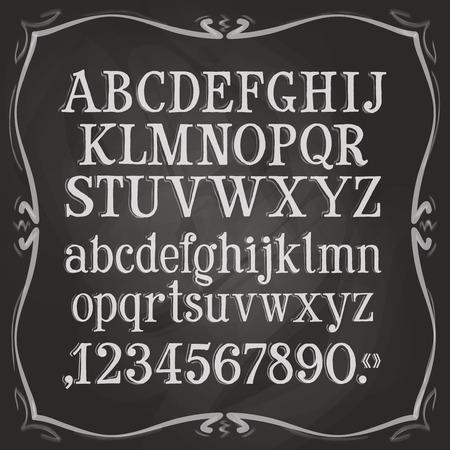 křída: písmena a číslice na černém pozadí. vektorové ilustrace Ilustrace