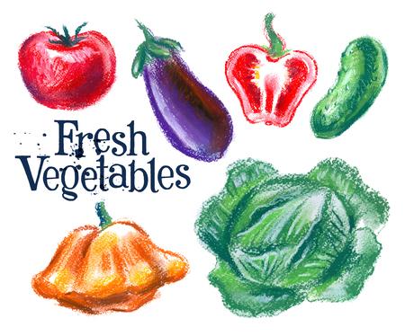 deli: fresh vegetables on white background. vector illustration Illustration