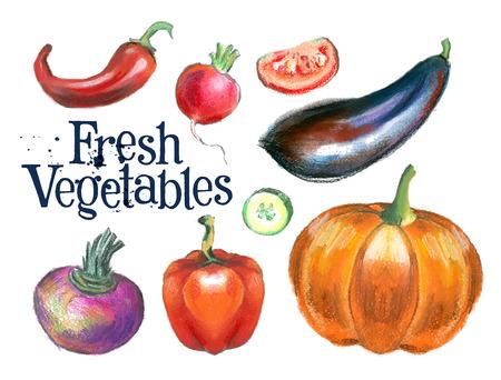 熟した: 白の背景に熟した野菜。ベクトル イラスト