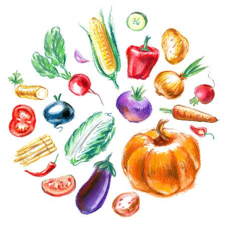 frisches Gemüse auf weißem Hintergrund. Vektor-Illustration