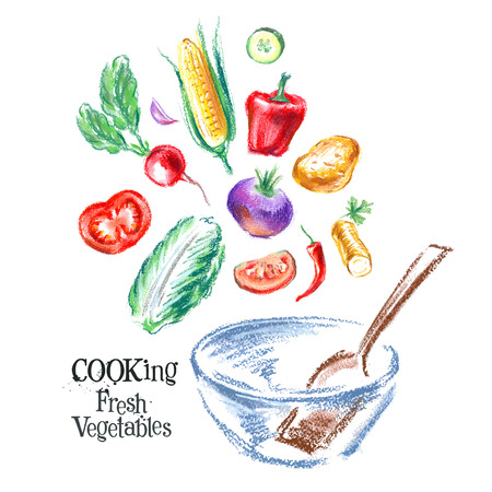 fresh vegetables on white background. vector illustration Vector