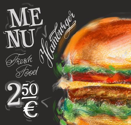 Fast-Food auf einem schwarzen Hintergrund. Vektor-Illustration Illustration
