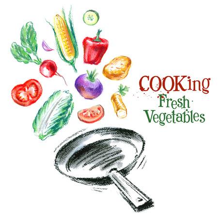 logotipos de restaurantes: verduras frescas en el fondo blanco. ilustración vectorial