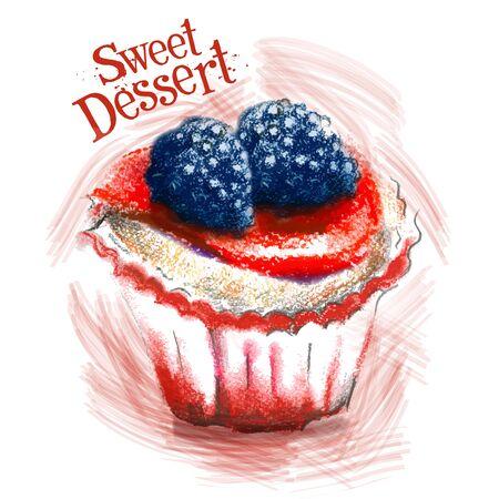 gateau: sweet dessert on a white background. vector illustration