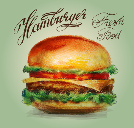 logo de comida: hamburguesas frescas sobre un fondo blanco. ilustración vectorial