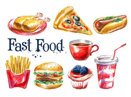 fast food op een witte achtergrond. vector illustratie Stock Illustratie