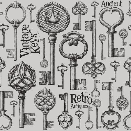 llaves: colecci�n de claves de la vendimia. bosquejo. ilustraci�n vectorial