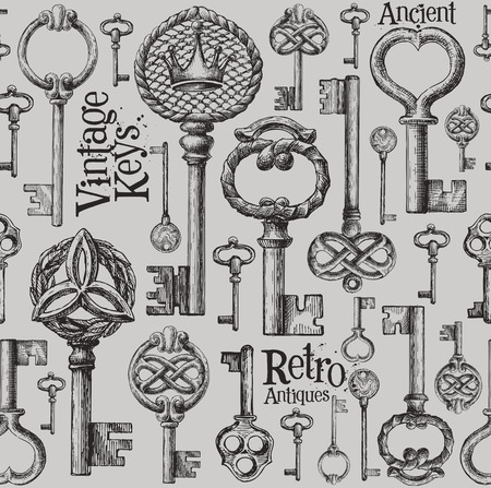 victorian: collection of vintage keys. sketch. vector illustration Illustration