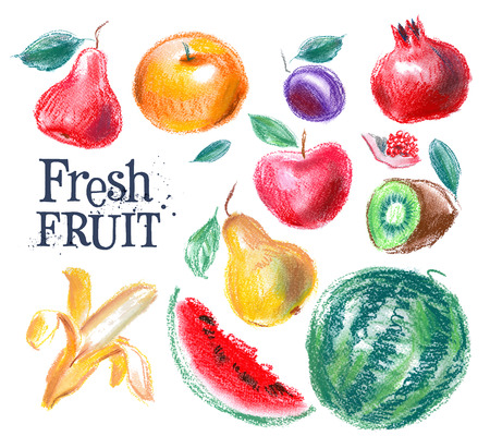 deli: fresh fruit on a white background. vector illustration