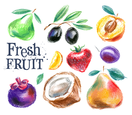 food store: fresh fruit on a white background. vector illustration