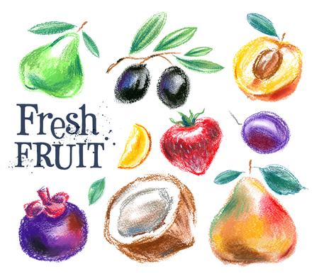 fruta fresca en un fondo blanco. ilustración vectorial Ilustración de vector